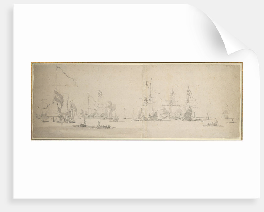 The Dutch fleet at anchor off the coast by Willem van de Velde the Elder
