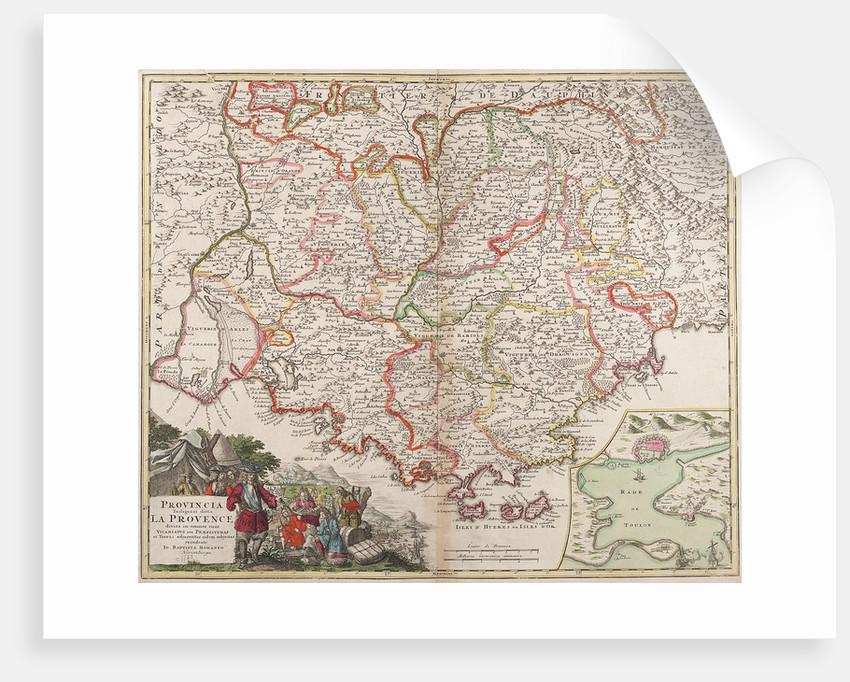 Map of the Provence, France by Johann Baptist Homann