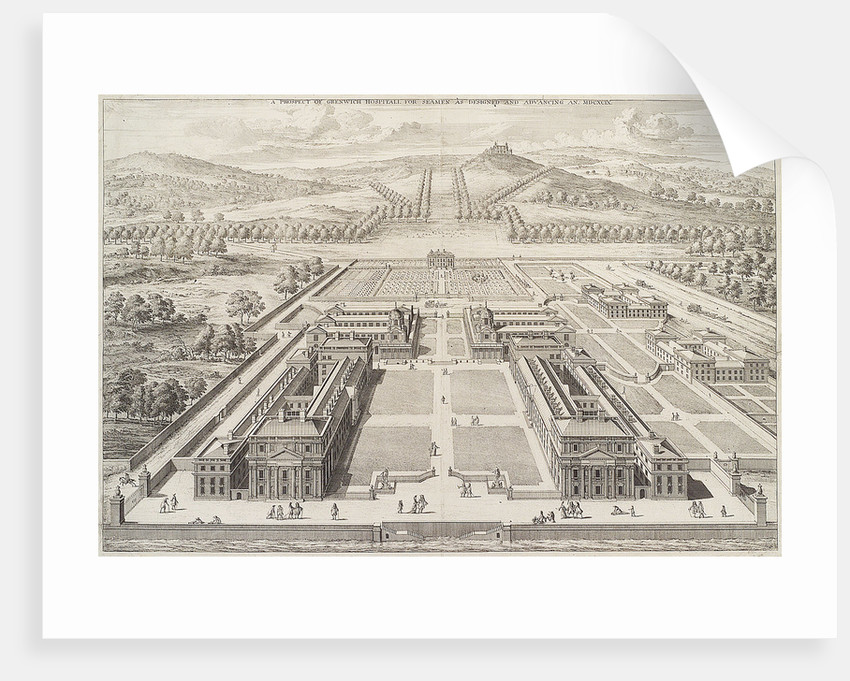 A prospect of Greenwich Hospital for Seamen as designed and Advancing An. MDCXCIX. by Johannes Kip