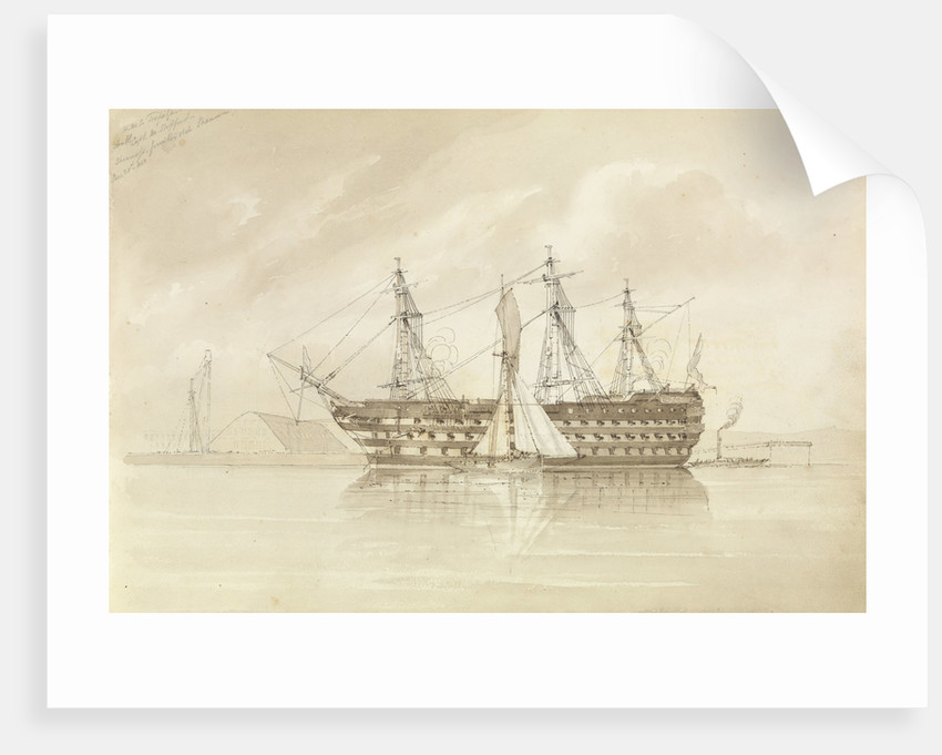 HMS 'Trafalgar' off Sheerness, from the 'Shannon', 28 December 1850 by George Pechell Mends