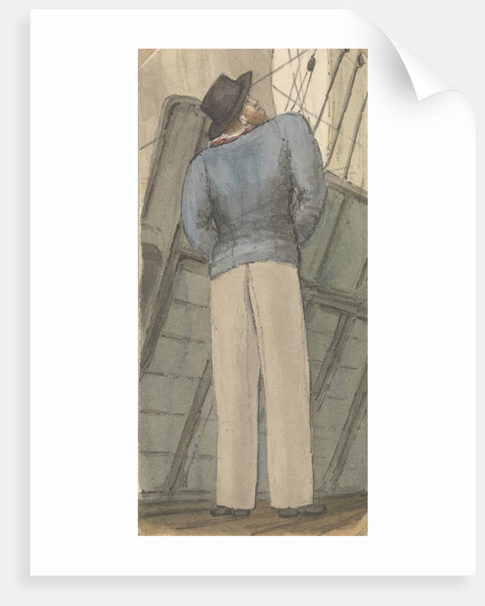 Sailor on deck looking up to the rigging by Robert Streatfeild