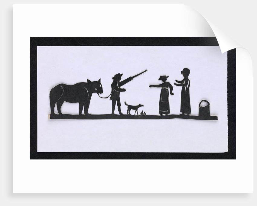 Silhouette of a man leading a bear with a dog meeting up with two women, cut out and placed on yellow backround by unknown