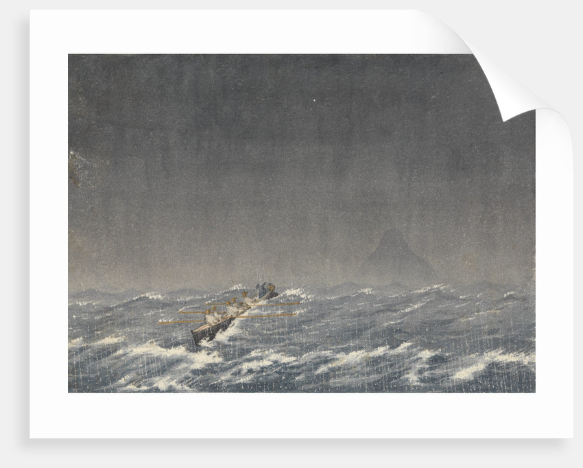 """Outer anchorage in a squall, Mazatlan [Mexico], Augt 22nd 1850, 8.am. ... """"Query, which is the way to the ship?''' by Edward Gennys Fanshawe"""