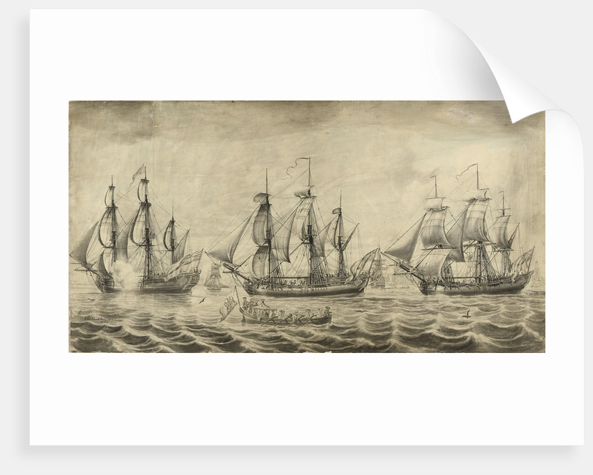 Three ships of the Hudson's Bay Company off Greenwich by John Hood