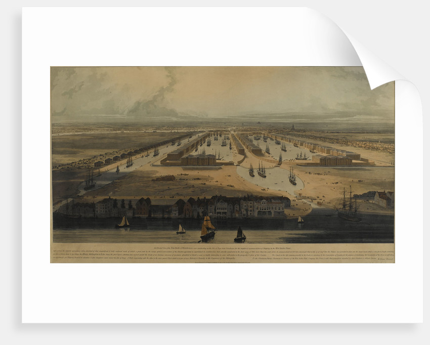 An elevated view of the West India Docks by William Daniell