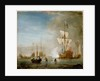 Calm: an English ketch rigged yacht, thought to be the Isabella, with other ships and vessels near the shore by Peter Monamy