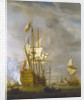 Calm: HMS 'Royal Sovereign' with a Royal yacht in a light air by Willem Van de Velde the Younger