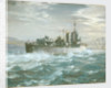 HMS Woolston (1918) in a heavy sea by Charles E Turner
