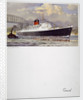 Front cover of Cunard menu featuring RMS 'Saxonia' with a tug alongside by unknown