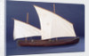 Full hull model, two masted open boat, starboard broadside by unknown