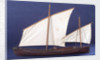 Full hull model, two masted open boat, port broadside by unknown