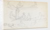 Studies of people in a rowing boat in the river at Merton Place (recto) by Thomas Baxter