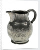 Pewter ale jug said to have been owned by Frederick Marryat (1792-1848), naval officer and novelist, but with bogus inscriptions and marks by unknown