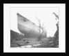 Bow view of the 'Aquitania' (1914) on the stocks by Bedford Lemere & Co.