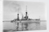 Battlecruiser HMS 'Invincible' (1907) in 1911-1912, at anchor with awnings rigged amidships and aft by unknown