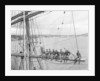 'Fahrwohl' 3 masted barque. Crew sitting on the mainyard. by unknown