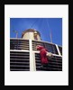 Father Christmas, or Santa Claus, climbing the grill in front of the forward funnel above the bridge on 'Oriana' (1960) by Marine Photo Service