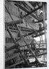 The simple but effective scaffolding of a boom under construction by Alan Villiers