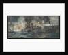 HMS 'Vindictive' alongside the Mole, Zeebrugge, April 23rd 1918 by Charles Dixon