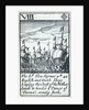 1588 Armada Playing Cards, VIII of Diamonds. 'The Ld, Hen: Seymor wth 40 English and Dutch ships keeping the Coast of the Netherlands to hinder ye Prince of Parma's coming forth' by unknown