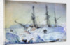 No.22 is a view of the Port side of the ship with an effect of sunrise in February 1837 and shewing the state of the snow walls at that time by William Smyth