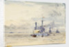 A battleship at anchor with booms extended by William Lionel Wyllie
