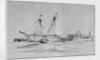 Yarmouth beach looking south with a beach yawl and other small boats drawn up by Edward William Cooke