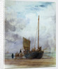 Beached fishing boat unloading into a cart, with figures by William Lionel Wyllie
