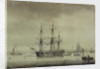 A merchant ship at anchor by unknown