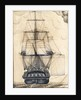 Study of the stern gallery of a vessel, also showing the rigging and sails by unknown