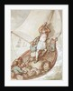 Hoisting sail in a boat by Thomas Rowlandson