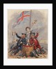 Disabled sailor and soldier leaning on drum toasting Union Flag supported by young sailor by unknown