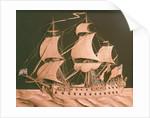 Paper sculpture of a 64-gun ship by Augustine Walker