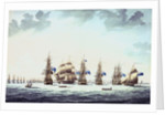 Cadiz, June 1797: the inshore blockading squadron coming to an anchor; 'Bellerophon', 'Orion', 'Theseus', 'Colos' and 'Irresistable' by Thomas Buttersworth