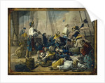 Pirates dressed in women's clothing attempt to decoy a merchant ship by Auguste-Francois Biard