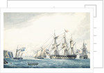 The 'Argo' with a Russian ship passing through the Straits, 1799 by Thomas Buttersworth