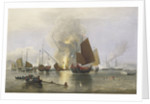 'Nemesis' destroying Chinese junks in Anson's Bay, 1841 by Edward Duncan