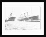 Passenger liner 'Titanic' (Br, 1912) Oceanic Steam Nav Co Ltd, (Ismay Imrie & Co Ltd, managers) (White Star Line): at Belfast with 'Olympic', tip of foremast out of picture by unknown