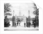 Entrance to Greenwich Hospital School with the drill ship 'Fame' and Queen's House beyond by unknown