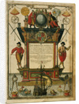 Frontispiece of 'The Mariner's Mirror' (1588) written by Lucas Jansz Waghenaer (1533-1606) by Theodore de Bry