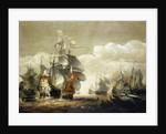 The Battle of Lowestoft, 3 June 1665, Showing HMS 'Royal Charles' and the 'Eendracht' by  Hendrik van Minderhout