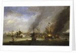 Destruction of the 'Soleil Royal' at the Battle of La Hogue, 23 May 1692 by Adriaen van Diest