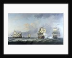 The capture of the 'Marquise d'Antin' and 'Louis Erasme' by the English Privateers 'Duke' and 'Prince Frederick' by Charles Brooking