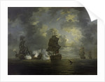 The capture of the Foudroyant by HMS Monmouth, 28 February 1758 by Francis Swaine