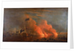 The burning of the Turkish fleet in Chesme Bay, 7 July 1770 by Richard Paton