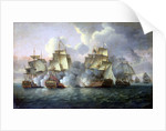 HMS 'Mediator' engaging French and American vessels, 11-12 December 1782 by Thomas Luny