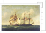 HMS 'Sappho' capturing the Danish brig 'Admiral Jawl', 2 March, 1808: surrender of the brig by Francis Sartorius