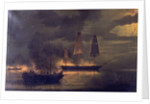 HMS 'Melpomene' engaged with 20 Danish gunboats, 23 May 1809 by British School