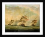HMS 'Lynx' and 'Monkey' capturing three Danish luggers, 12 August 1809 by British School