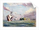A Cunarder being converted to a merchant cruiser during the First World War or a convoy by Herbert Barnard John Everett